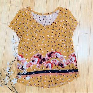 LOFT golden floral t-shirt, M.